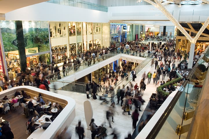 a crowd at a shopping mall