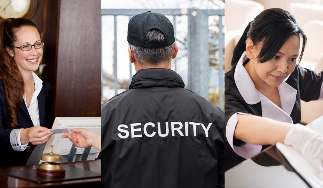 three images, a concierge, a security guard and a janitor